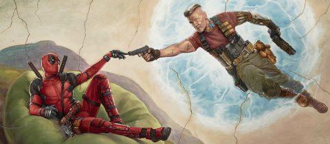 Ryan Reynolds op een poster voor de film Deadpool 2 van Marvel die vervroegd is