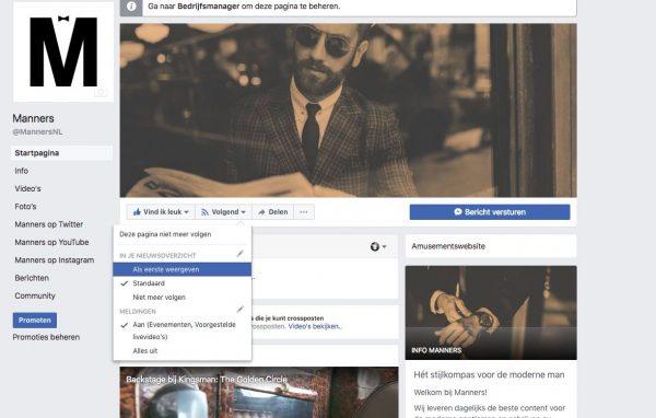 Manners als eerste weergeven in facebook tijdlijn