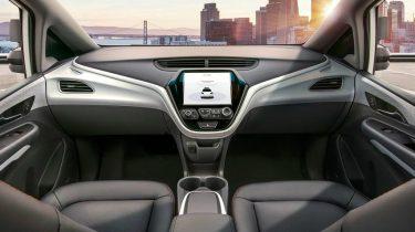 interieur zelfrijdende auto zonder stuur van Chevrolet General Motors die volledig autonoom is