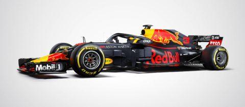 De RB14 van Red Bull Racing in de officiële kleuren Daniel Ricciardo en Max Verstappen