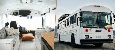 schoolbus omgebouwd tot huis roadtrip
