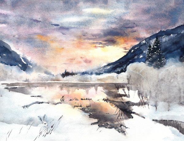 Schilderij, natuur, scandinavisch interieur