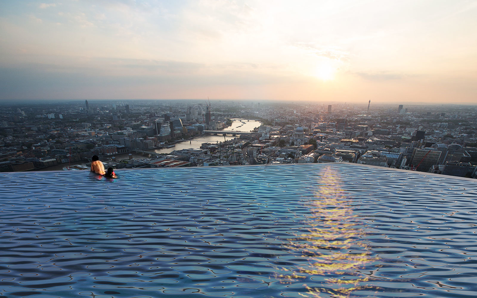 rooftop, zwembad, infinity pool, londen, infinity london, 360 graden