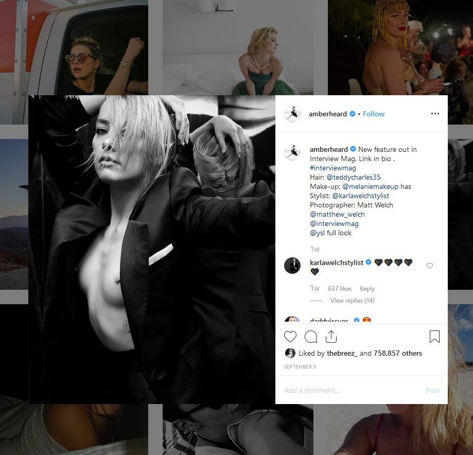 amber heard, topless, instagram
