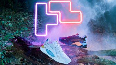 puma x tetris, collectie, retro game, sneakers, trainingspak