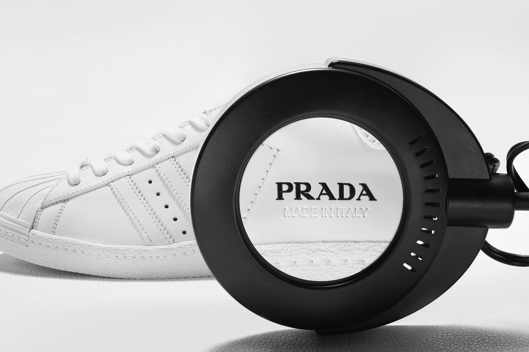prada, adidas, superstar, sneakers, bowling bag