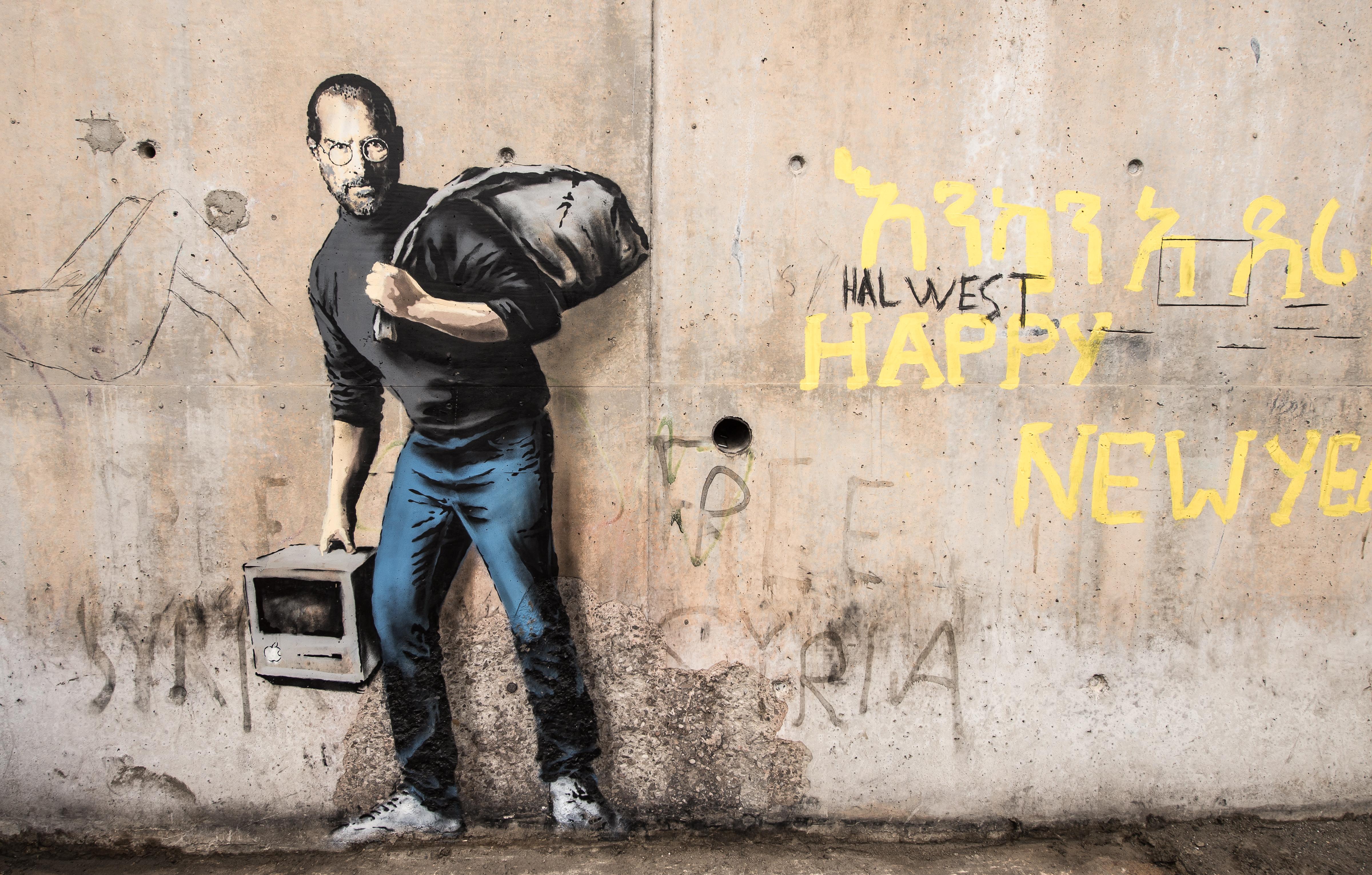 banksy, steve jobs