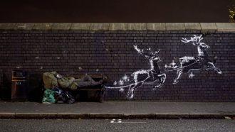 banksy, street-art, kunstwerk, daklozen, birmingham, kerst
