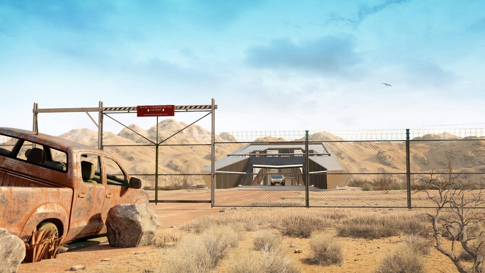 cyberhouse, modern house, architectuur, tesla cybertruck, post-apocalyptische bunker