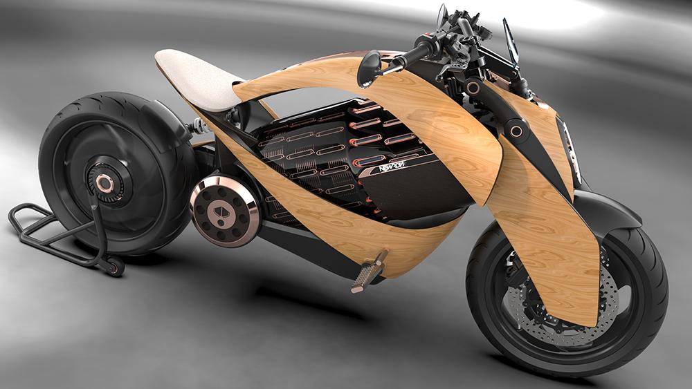 Newron EV-1, elektrische motor, hout, houten, e-bike