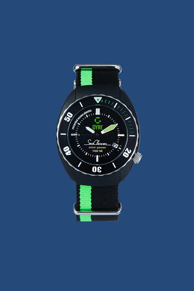 gyre seacleaner, horloge, gerecyclede visnetten, oceaan