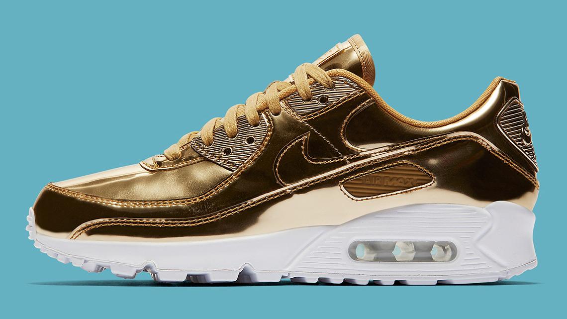 Nike dropt metallic gouden Air Max 90 sneakers