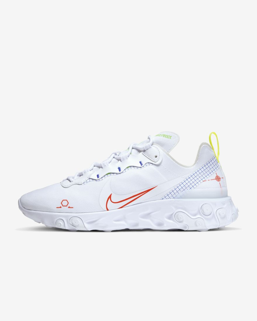 react element 55, witte sneakers, nike