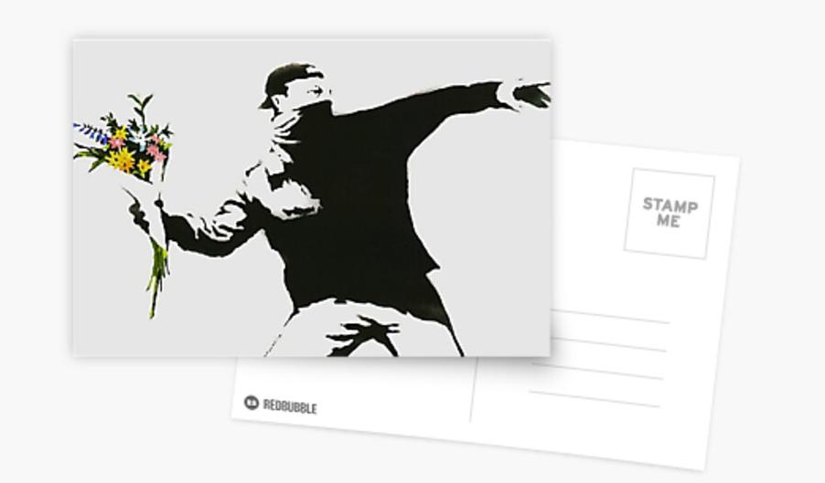 banksy, identiteit, copyright, ansichtkaart, flower throwers