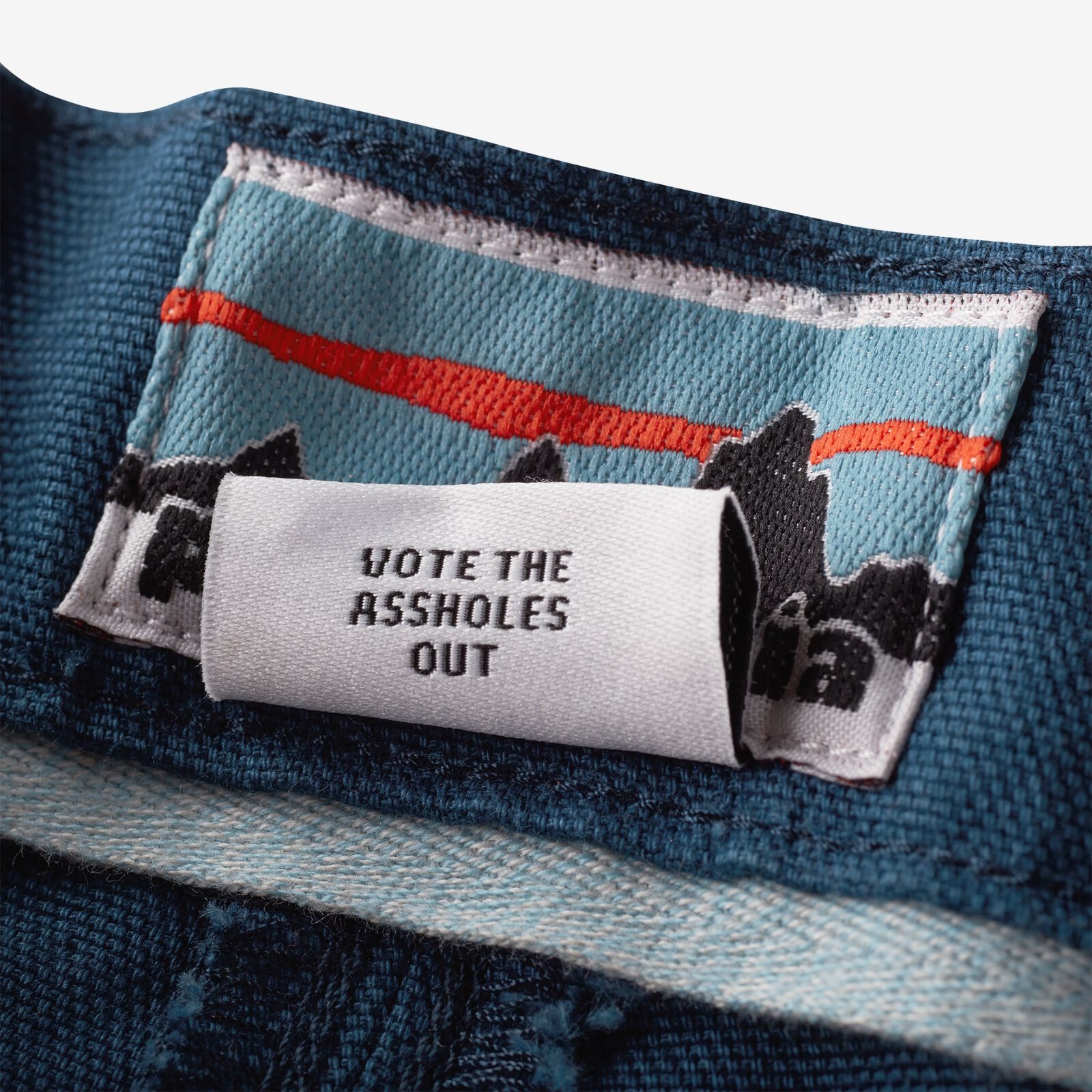patagonia, vote the assholes out, tag, label, kledinglabel